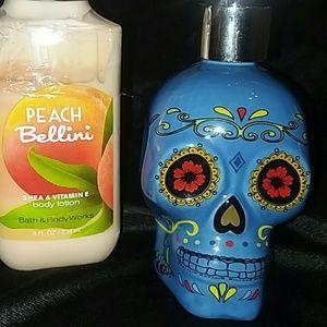 Other - Sugar Skull soap or lotion dispenser blue